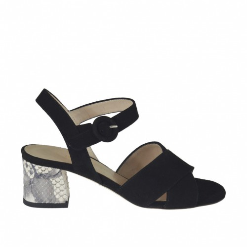 Woman's strap sandal in black suede and beige printed leather heel 5 - Available sizes:  32, 33, 34, 42, 43, 44, 46