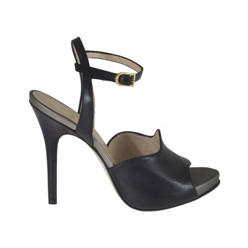 Woman's strap sandal in black leather with platform and heel 10 - Available sizes:  32, 33, 34, 42, 44, 45