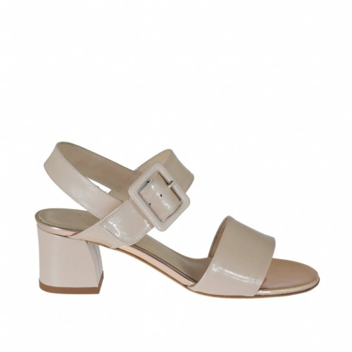 Woman's strap sandal in rose laquered metalized patent leather heel 4 - Available sizes:  42, 44, 45