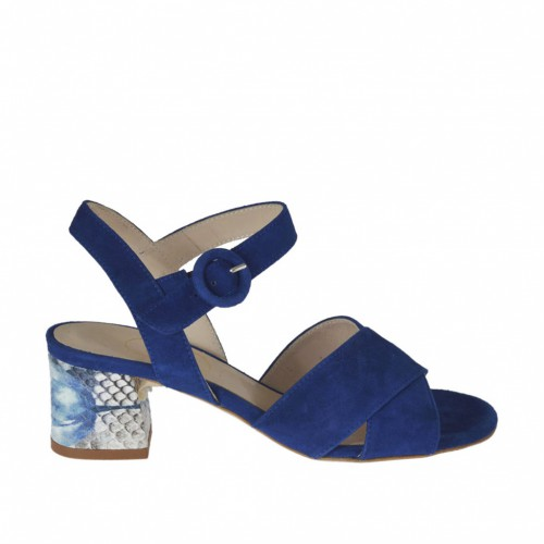 Woman's strap sandal in cornflower blue suede and beige printed leather heel 5 - Available sizes:  46