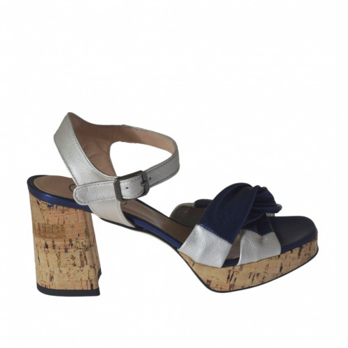 Woman's strap sandal in blue and silver laminated leather with platform and heel 7 - Available sizes:  45