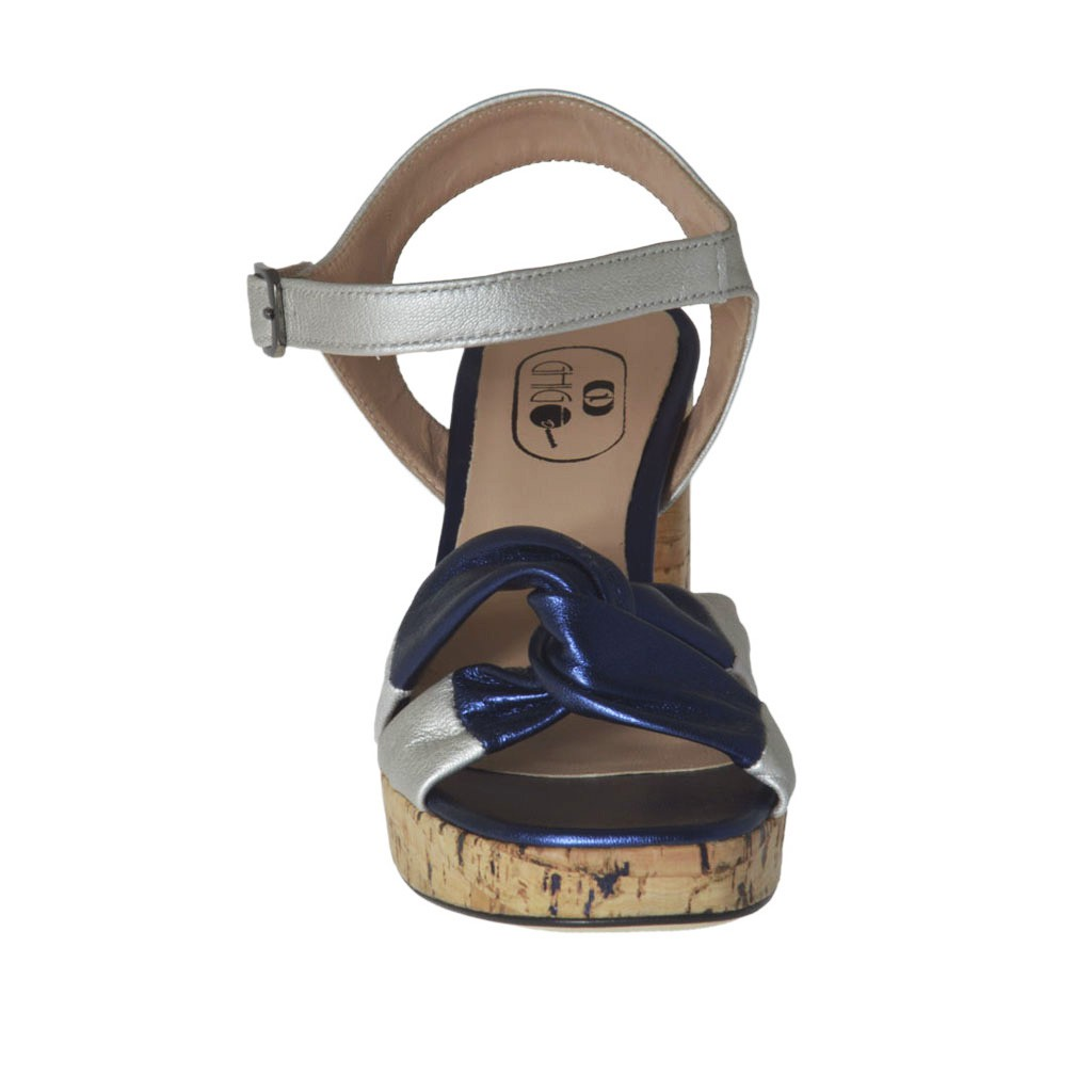 06aa43c30a4 ... Woman s strap sandal in blue and silver laminated leather with platform  and heel 7 - Available ...