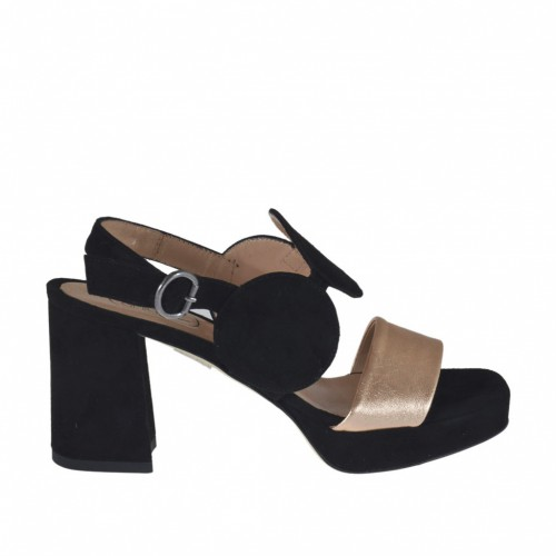 Woman's sandal in copper leather and black suede with platform and heel 7 - Available sizes:  42, 43, 44, 45