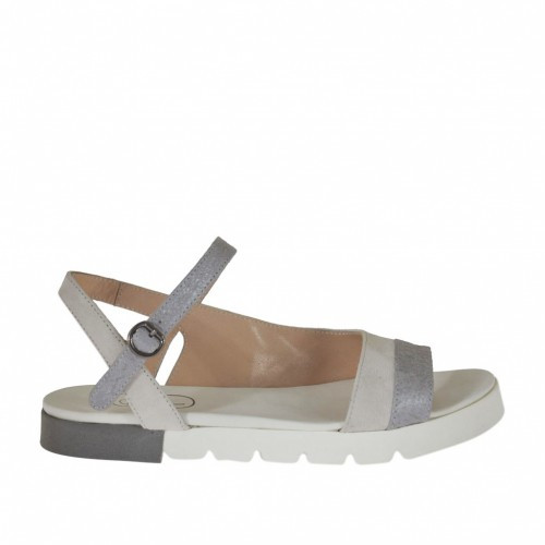 Woman's strap sandal in grey leather and white suede wedge heel 2 - Available sizes:  32, 46