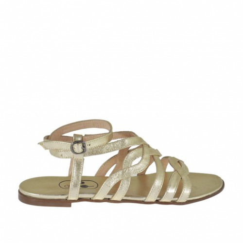 Sandale pour femmes avec courroie en cuir lamé platine talon 1 - Pointures disponibles:  32, 33, 34, 46