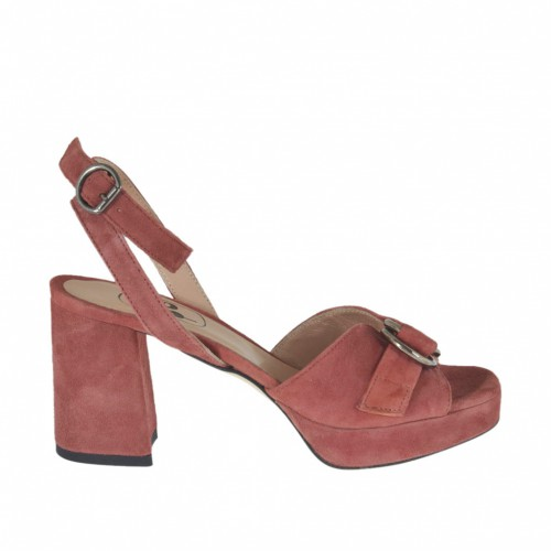 Woman's strap sandal with platform and accessory in antique pink suede heel 7 - Available sizes:  43, 44, 45