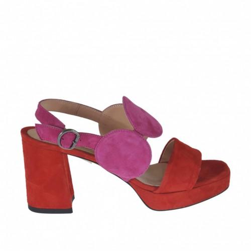 Sandale pour femmes en daim rouge et fuchsia avec plateforme et talon 7 - Pointures disponibles:  43, 44, 45