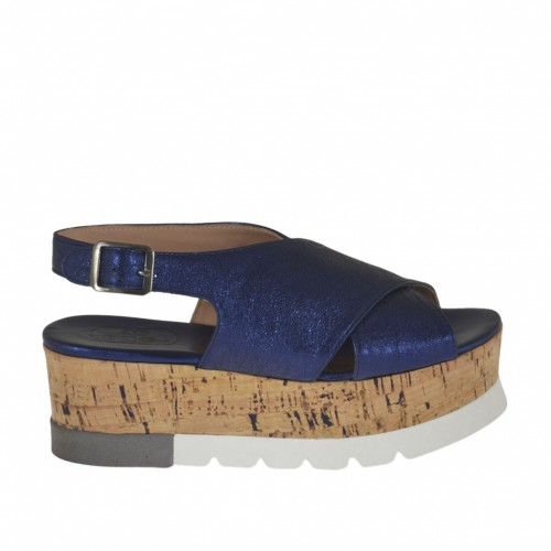Woman's sandal in blue laminated leather wedge heel 5 - Available sizes:  42, 43