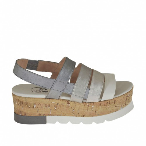 Woman's sandal with elastic in silver and grey laminated leather and white leather wedge heel 5 - Available sizes:  42, 43