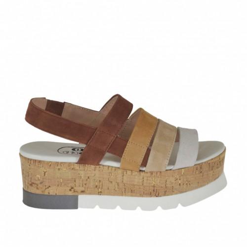 Sandale pour femmes avec elastique en daim marron, sable, taupe et blanc talon compensé 5 - Pointures disponibles:  43