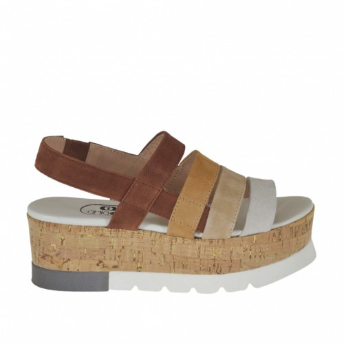 Woman's sandal with elastic in brown, sand, taupe and white suede wedge heel 5 - Available sizes:  43