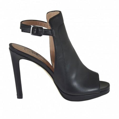 Sandale avec cou-de-pied haute pour femmes en cuir noir avec plateforme et talon 9 - Pointures disponibles:  34, 43