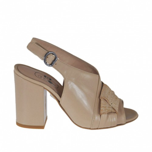 Woman's sandal in powder colored leather with bow in printed leather heel 8 - Available sizes:  42, 43, 44, 45