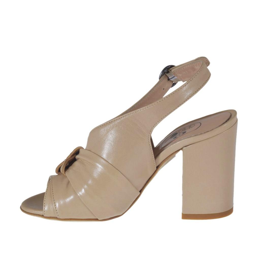 sandale pour femmes en cuir poudre avec noeud en cuir. Black Bedroom Furniture Sets. Home Design Ideas