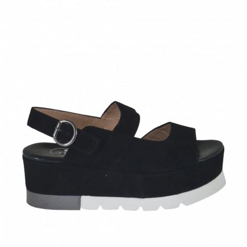 Sandale pour femmes en daim noir talon compensé 5 - Pointures disponibles:  34, 42, 43, 44