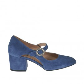 Woman's open pump shoe with buckle and pearls in blue suede heel 5 - Available sizes: 32, 33, 34, 42, 43, 44