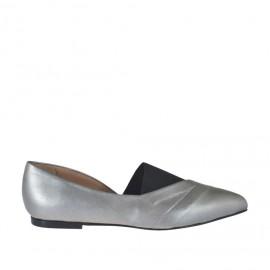 Zapato cerrado para mujer en piel laminada gris y tejido elastico negro tacon 1 - Tallas disponibles: 32, 33, 34, 42, 43, 44, 45, 46