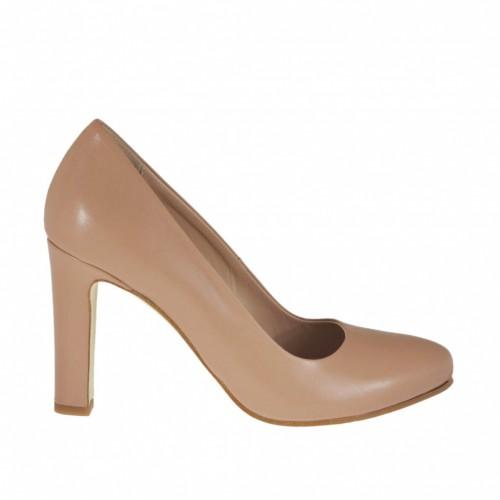 Zapato de salon para mujer en piel rosa con plataforma interna y tacon 9 - Tallas disponibles:  42, 43, 44