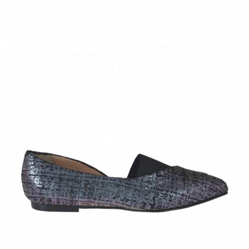 Zapato cerrado para mujer en piel imprimida holográfica multicolor y tejido elastico negro tacon 1 - Tallas disponibles:  32, 33, 34, 43, 44, 45