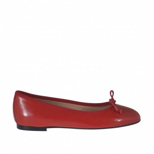 Ballerina da donna con fiocco in pelle rossa tacco 1 - Misure disponibili: 32, 33, 34, 43, 46