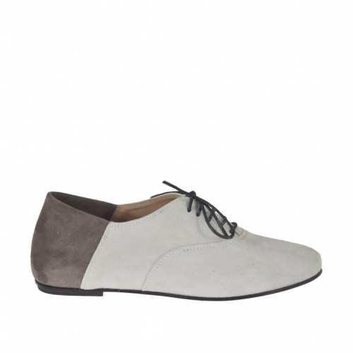 Woman's laced shoe in white and grey suede heel 1 - Available sizes:  32, 33, 34, 42, 43, 45