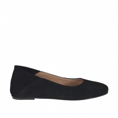 Ballerine pour femmes en daim noir talon 1 - Pointures disponibles:  32, 33