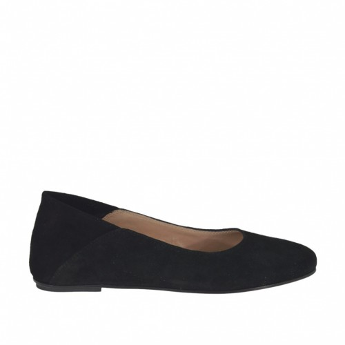 Woman's ballerina in black suede heel 1 - Available sizes:  32, 33