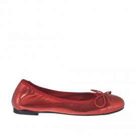 Woman's ballerina shoe with bow in red laminated leather heel 1 - Available sizes: 32, 33, 34, 42, 43, 44, 45, 46