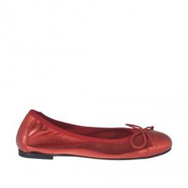 Zapato bailarina para mujer con moño en piel laminada roja tacon 1 - Tallas disponibles:  32, 33, 34, 45