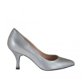 Zapato de salon para mujer en piel laminada gris tacon 7 - Tallas disponibles:  32, 34, 43