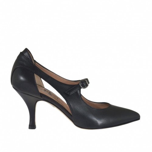 Woman's pump with sidecuts and strap in black leather heel 7 - Available sizes:  33, 43