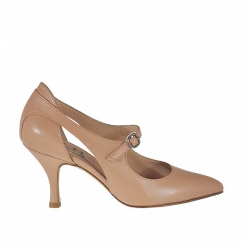 Woman's pump with sidecuts and strap in rose leather heel 7 - Available sizes:  42, 43, 44, 45