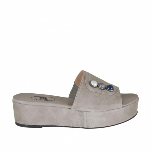 Women's open mule with multicolored pearls in dove grey suede wedge heel 4 - Available sizes:  42, 43, 44
