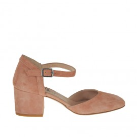 Woman's open strap shoe in peach pink suede heel 5 - Available sizes: 32, 33, 42, 43, 44, 45