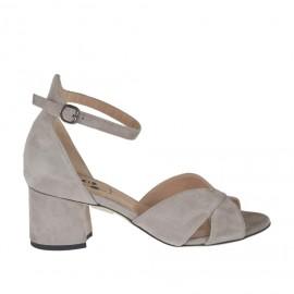 Scarpa aperta in punta da donna con cinturino in camoscio grigio tortora tacco 5 - Misure disponibili: 32, 33, 34, 42, 43, 44, 45