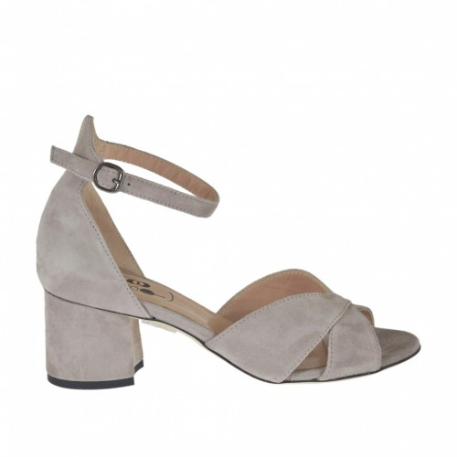 Woman's open-toe strap shoe in dove grey suede heel 5 - Available sizes: 32, 33, 42, 43, 44, 45