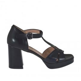 Scarpa aperta da donna con plateau e cinturino Charleston in pelle nera tacco 7 - Misure disponibili: 32, 33, 34, 42, 43, 44, 45