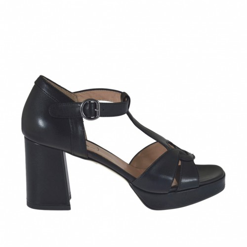 Woman's open shoe with t-strap and platform in black leather heel 7 - Available sizes:  42, 43, 44, 45