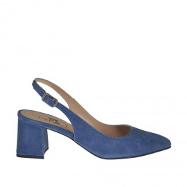 Woman's slingback pump in blue suede heel 5 - Available sizes:  33, 42, 43, 45