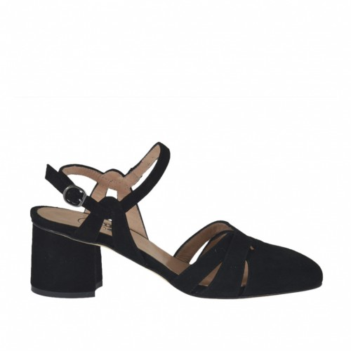Woman's slingback pump with strap in black suede heel 5 - Available sizes:  32, 33, 34