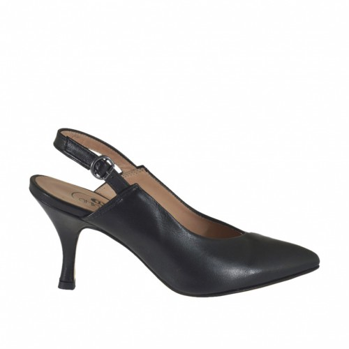 Woman's slingback pump in black leather heel 7 - Available sizes:  32, 43, 44