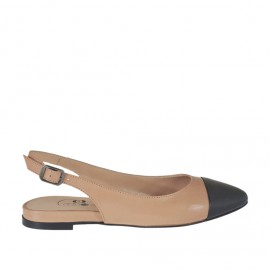 Woman's slingback pump in powder rose and black leather heel 1 - Available sizes: 32, 33, 34, 42, 43, 44, 45, 46