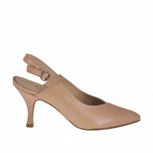 Woman's slingback pump in rose powder leather heel 7 - Available sizes:  33, 43, 45