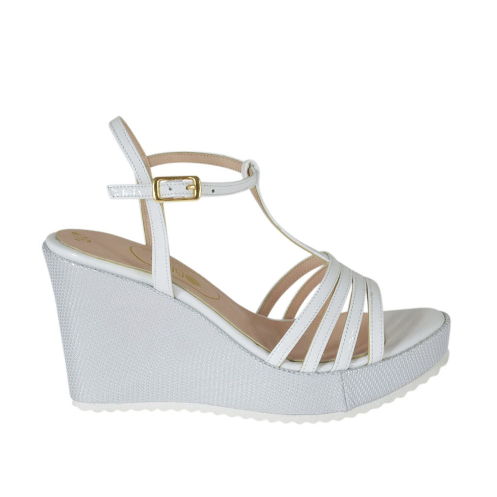 b0878a5dd Woman s T-strap sandal in white patent leather and silver laminated fabric  with platform and. Loading zoom