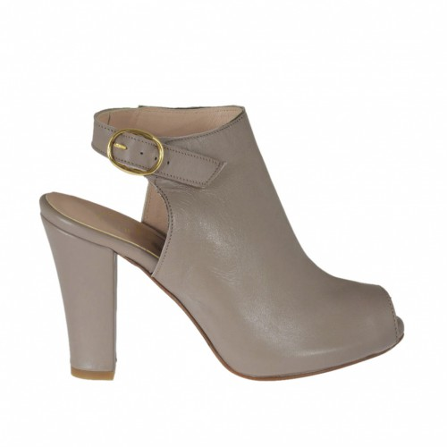 Woman's high-fronted sandal with platform in taupe leather heel 9 - Available sizes:  31, 34, 42, 43, 44