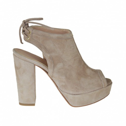 Woman's high-fronted sandal with platform and back laces in sand suede heel 9 - Available sizes:  31, 33, 34, 45, 46, 47