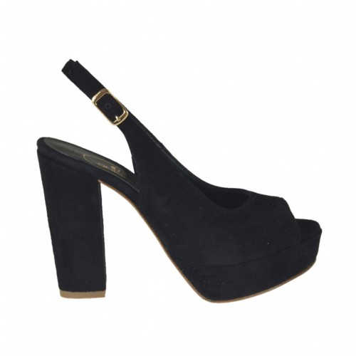 Sandalo da donna con plateau in camoscio nero tacco 9 - Misure disponibili: 31, 32, 42, 45, 46, 47