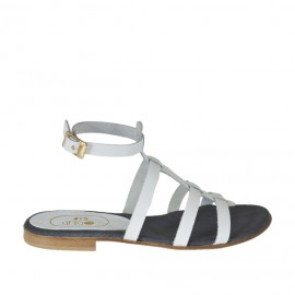 Woman's sandal with ankle strap and bands in white leather heel 1 - Available sizes:  32
