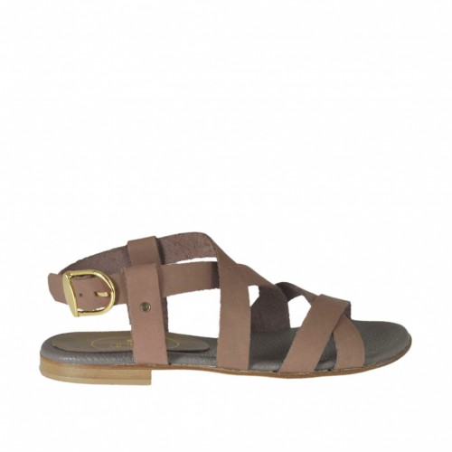 Woman's sandal with crossed straps in taupe leather heel 1 - Available sizes:  32, 43