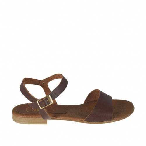 Woman's strap sandal in brown leather heel 1 - Available sizes:  42, 43, 44, 45